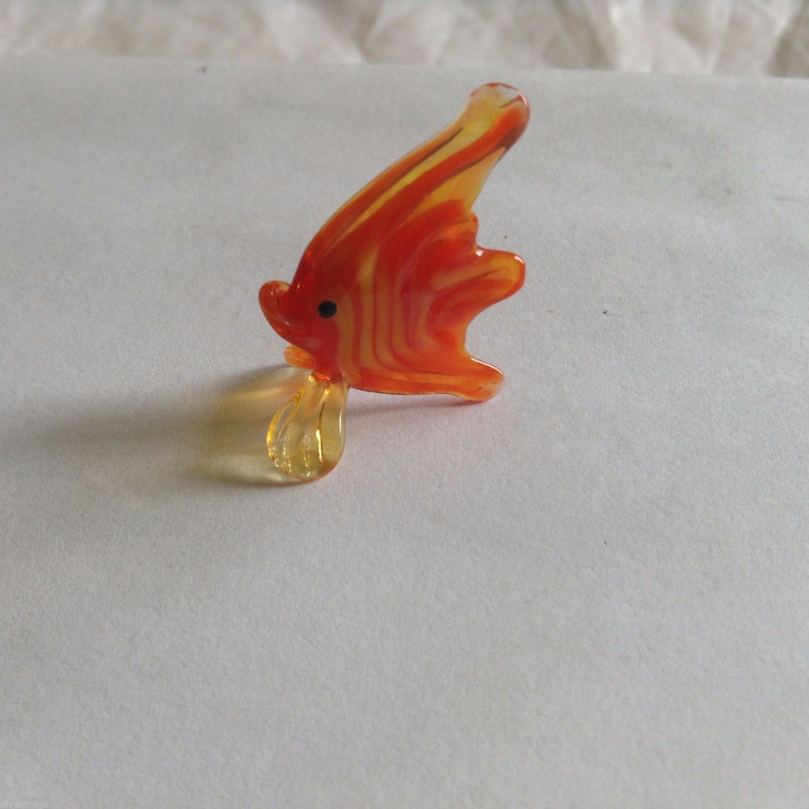 Micro Miniature small hand blown glass orange angel tropical fish made USA NIB