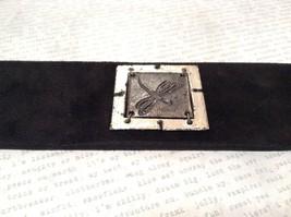 Leather Handcrafted Bracelet Pewter Base Metal Medallion Black Dragonfly image 2