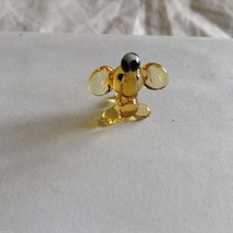 Micro Miniature small hand blown glass yellow elephant with ball made USA NIB
