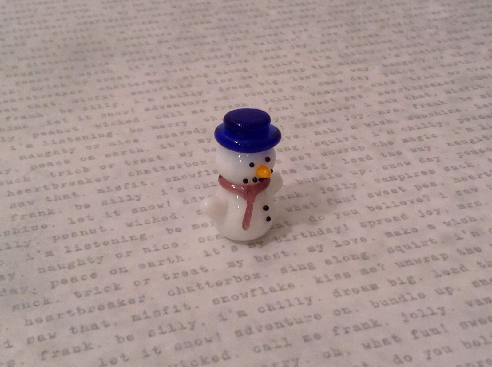 Micro miniature hand blown glass Snowman With Dark Blue Hat Christmas  USA NIB