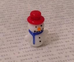 Micro miniature hand blown glass Snowman With Red Hat Christmas  USA NIB image 1