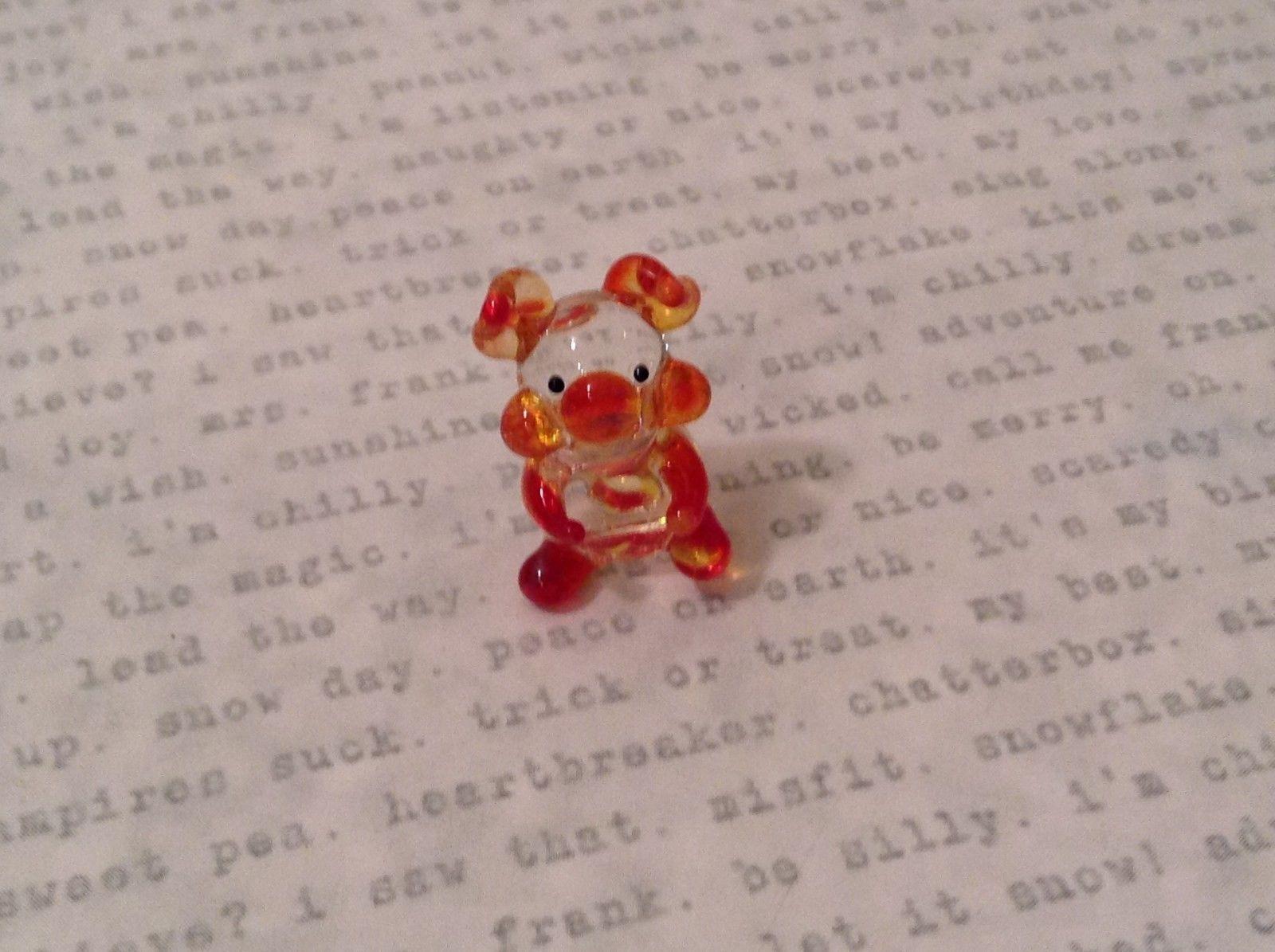Micro miniature hand blown glass figurine  USA NIB clear pig w color accents