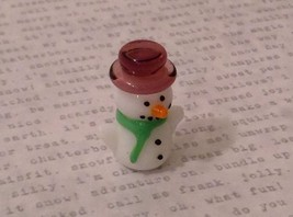 Micro miniature hand blown glass Snowman With Purple Hat Christmas  USA NIB