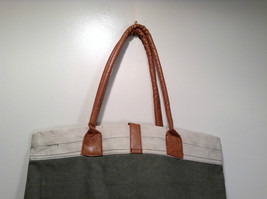 NEW 100% Recycled Cotton Khaki with Brown Straps Shoulder Bag image 5
