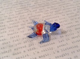 Micro miniature hand blown glass figurine clear turtle w color accents U... - $39.99