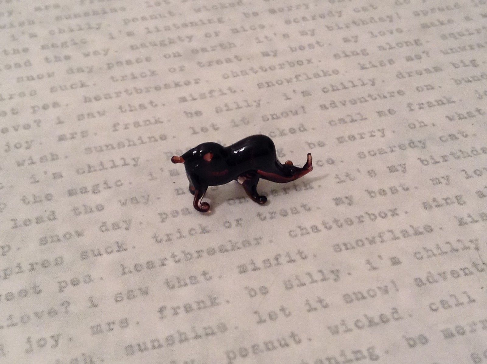 Micro miniature hand blown glass figurine rhino rhinocerus USA  NIB
