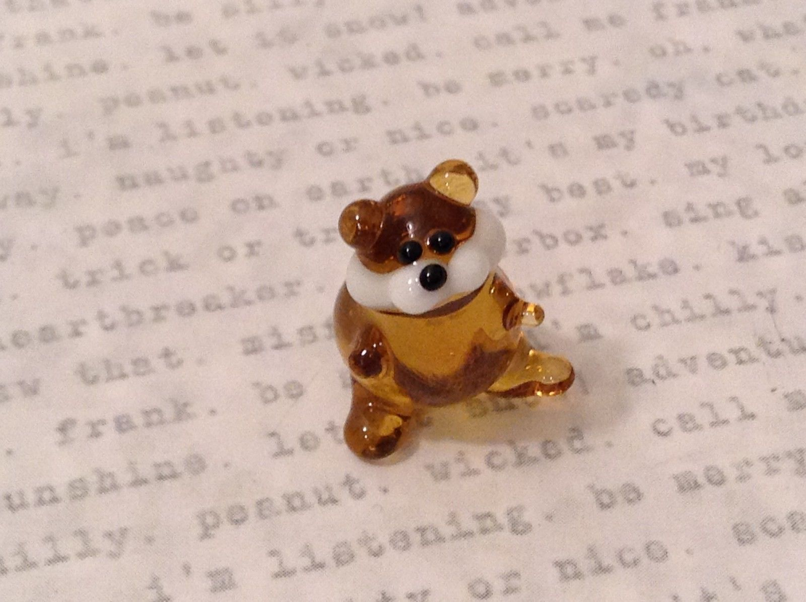 Micro miniature hand blown glass figurine amber beaver  USA NIB