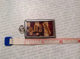 My Son is a Soldier USA Charm Present Tie On Reversible Tag Metal Glass Tag image 3