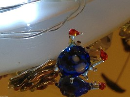 Micro miniature small hand blown glass blue crab w red claws made in USA NIB
