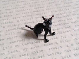 Micro miniature small hand blown glass black cat sitting USA made - $39.99