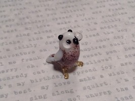 Micro miniature small hand blown glass brown and white owl  USA  NIB