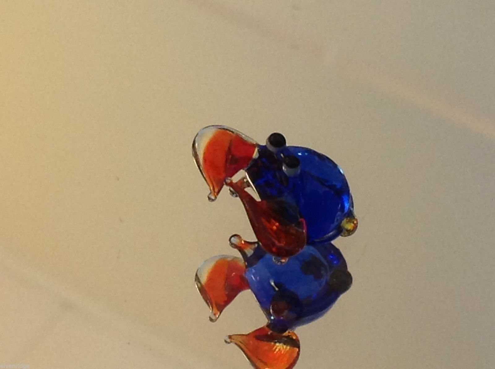 Micro miniature small hand blown glass blue crab w orange claws  USA made