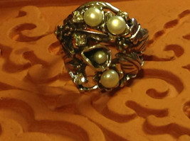 Nature Inspired Flower Butterfly Pearl Sterling Silver Ring Size Choice 7 or 8 image 2