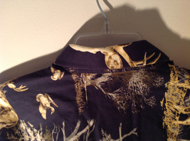 Natural Issue Deer Graphic Casual Button Up Collared Long Sleeve Shirt Size M image 4