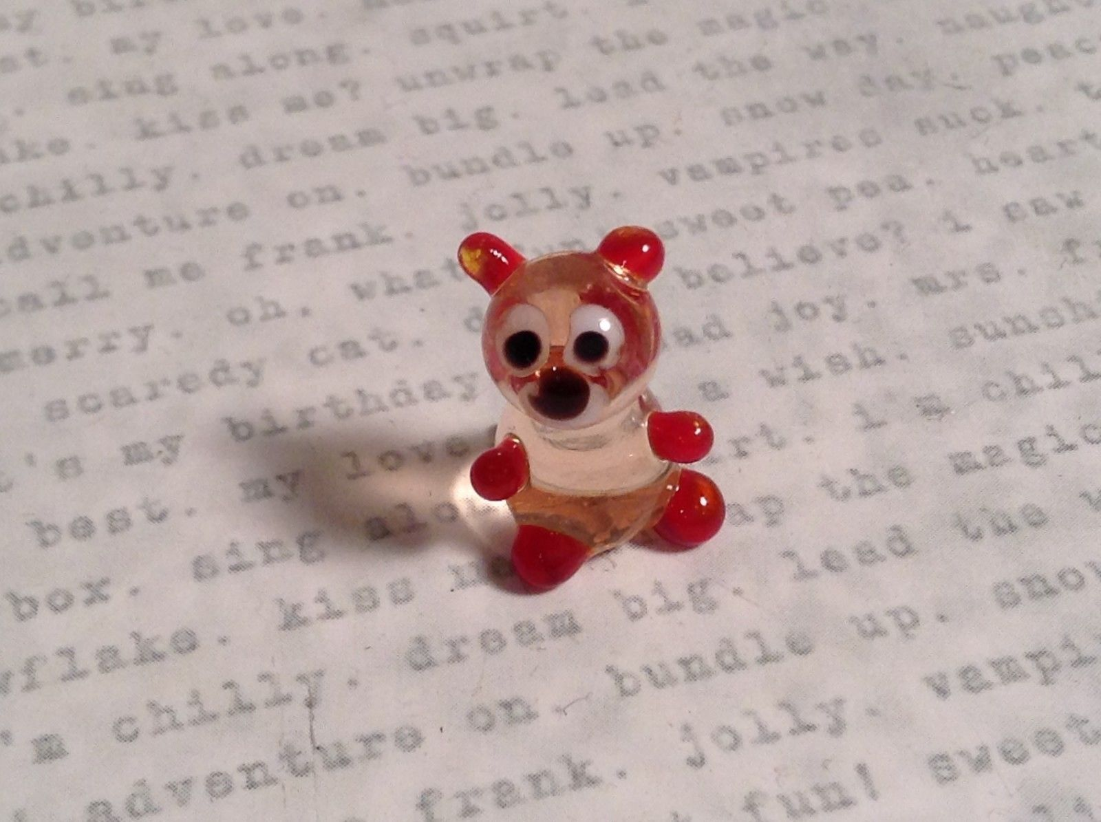 Micro miniature small hand blown glass clear and red bear USA made