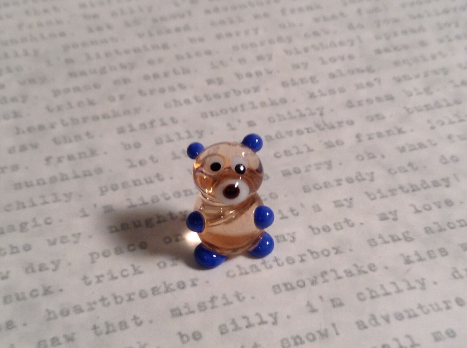 Micro miniature small hand blown glass clear bear with blue arms animal USA  NIB