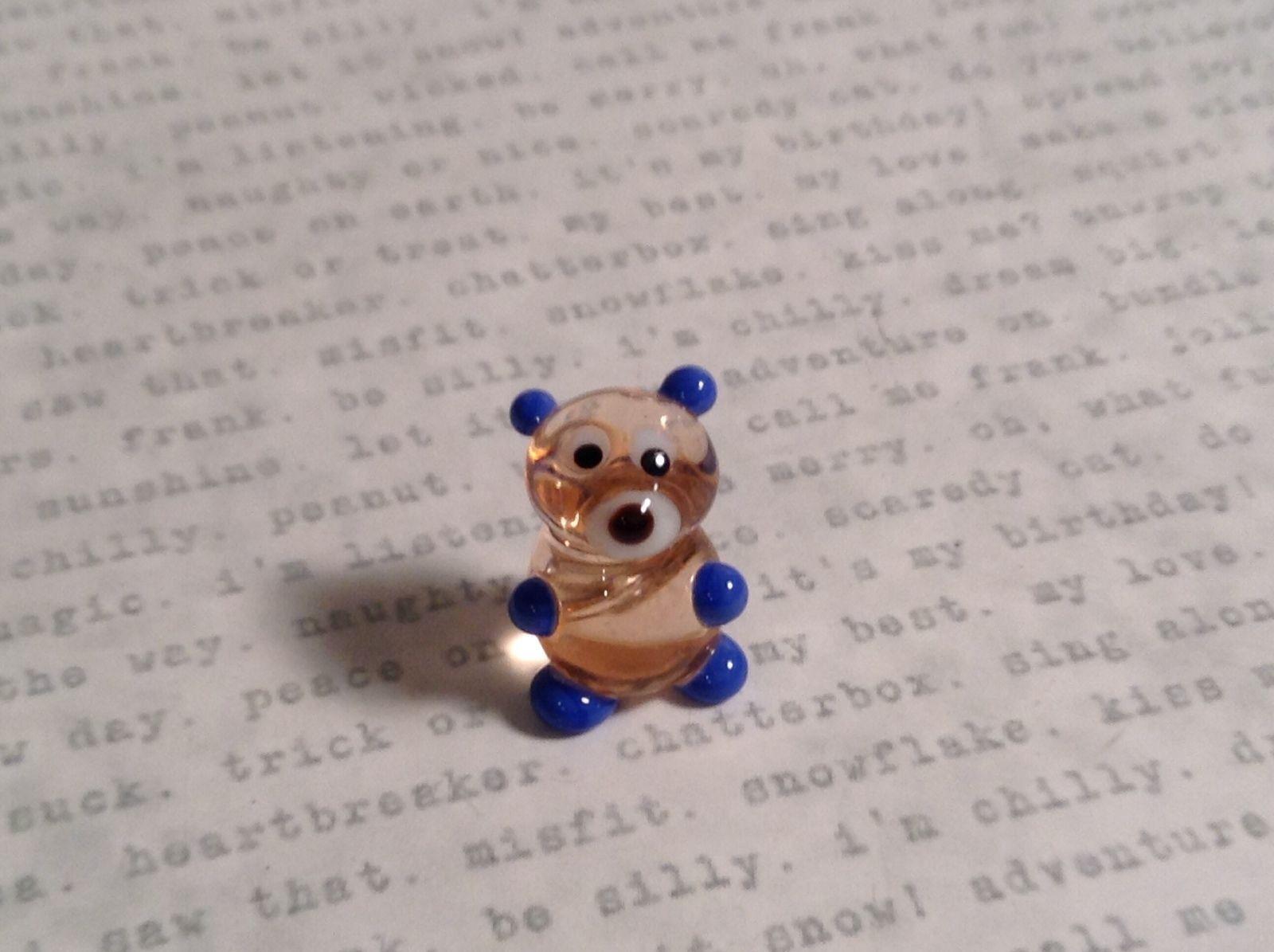 Micro miniature small hand blown glass clear bear with blue arms animal USA  NIB