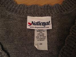 National Gray Vest Leaf Pattern Stripes Knitted V Neck Size 2X Button Closure image 7