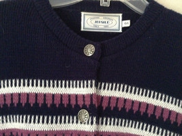 Navy Blue Button Down Sweater Design White and Violet by Jersilo Size 44 image 2