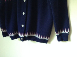 Navy Blue Button Down Sweater Design White and Violet by Jersilo Size 44 image 5