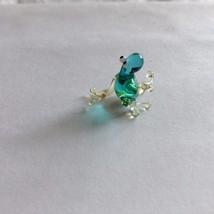 Micro miniature small hand blown glass figurine blue sitting lizard ?  USA NEW