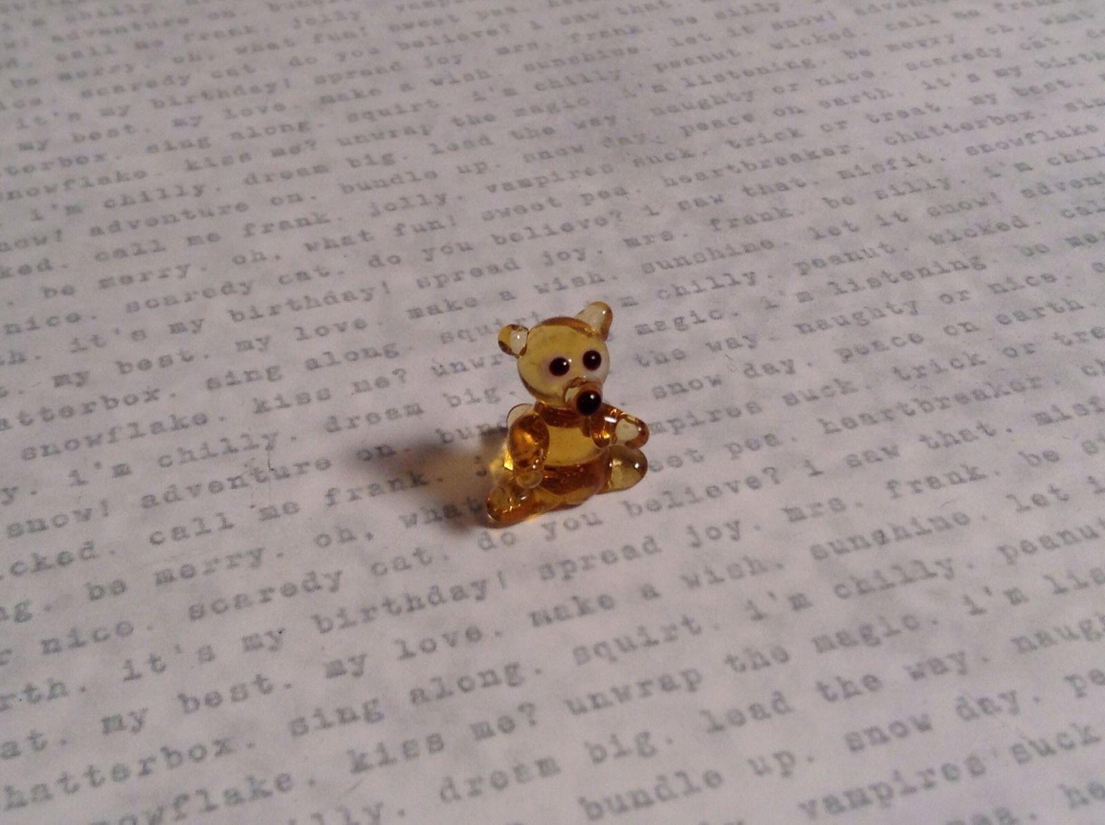 Micro miniature small hand blown glass figurine amber bear USA  NIB