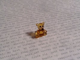 Micro miniature small hand blown glass figurine amber bear USA  NIB