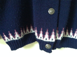 Navy Blue Button Down Sweater Design White and Violet by Jersilo Size 44 image 7