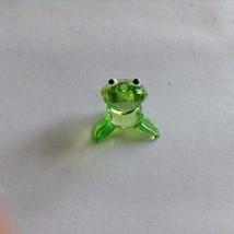Micro miniature small hand blown glass figurine green frog  USA  NIB