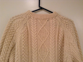 Natural White Pure Irish Wool Long Sleeve Sweater No Size Tag Measurements Below image 3