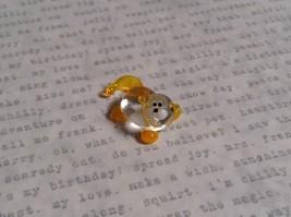 Micro miniature small hand blown glass figurine clear yellow cat USA  NIB image 1