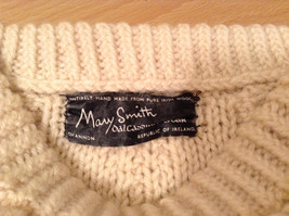 Natural White Pure Irish Wool Long Sleeve Sweater No Size Tag Measurements Below image 5