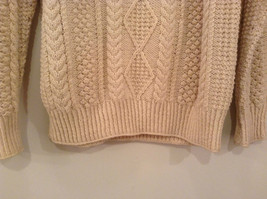Natural White Pure Irish Wool Long Sleeve Sweater No Size Tag Measurements Below image 4
