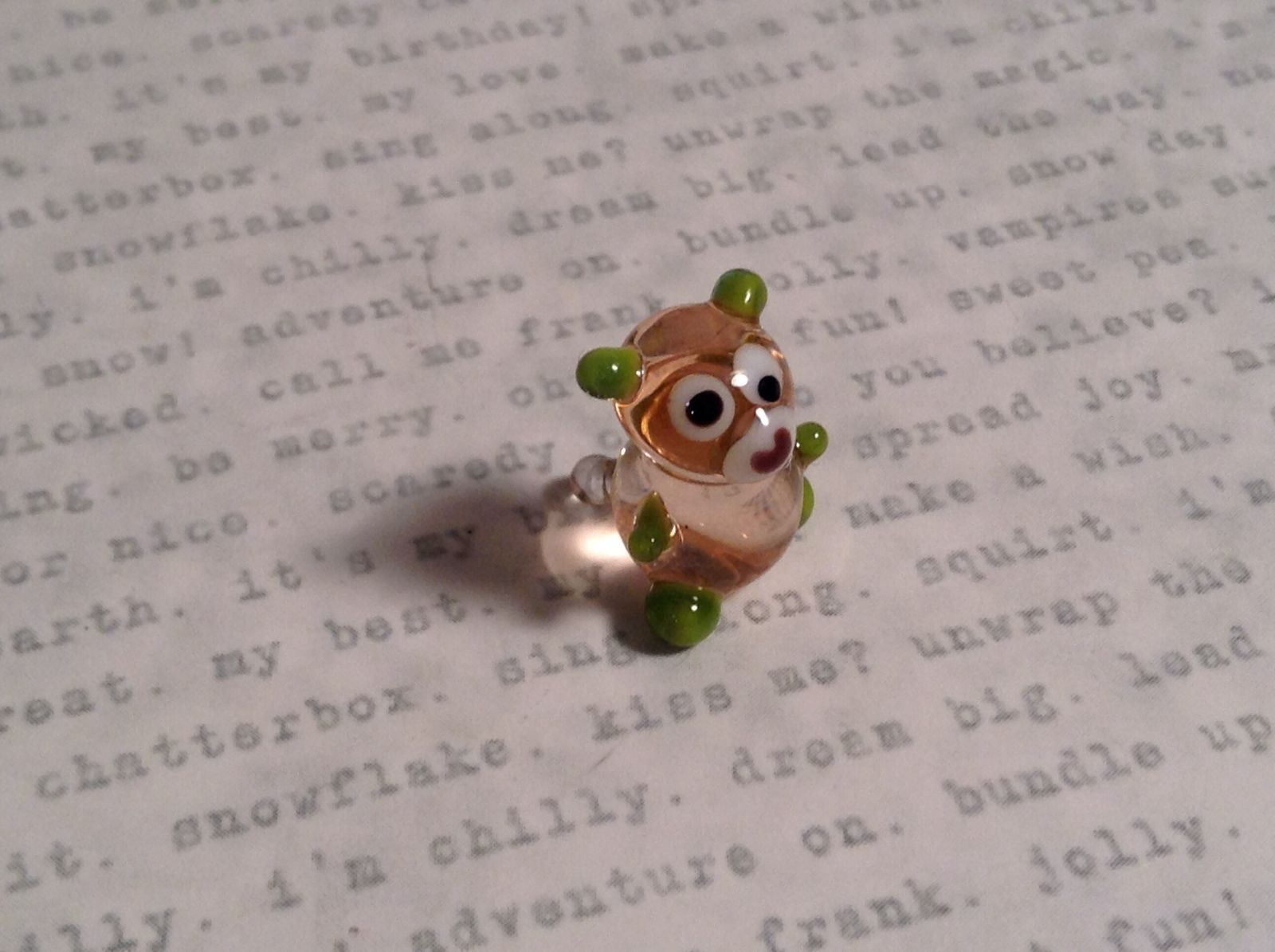 Micro miniature small hand blown glass figurine clear green bear USA  NIB