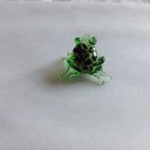 Micro miniature small hand blown glass figurine green frog black spots USA  NIB