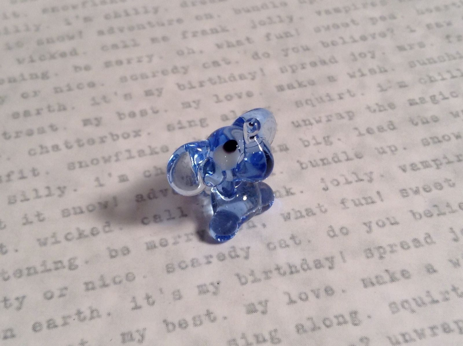 Micro miniature small hand blown glass figurine light blue elephant USA  NIB