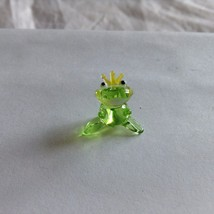 Micro miniature small hand blown glass figurine green king frog w crown USA  NIB