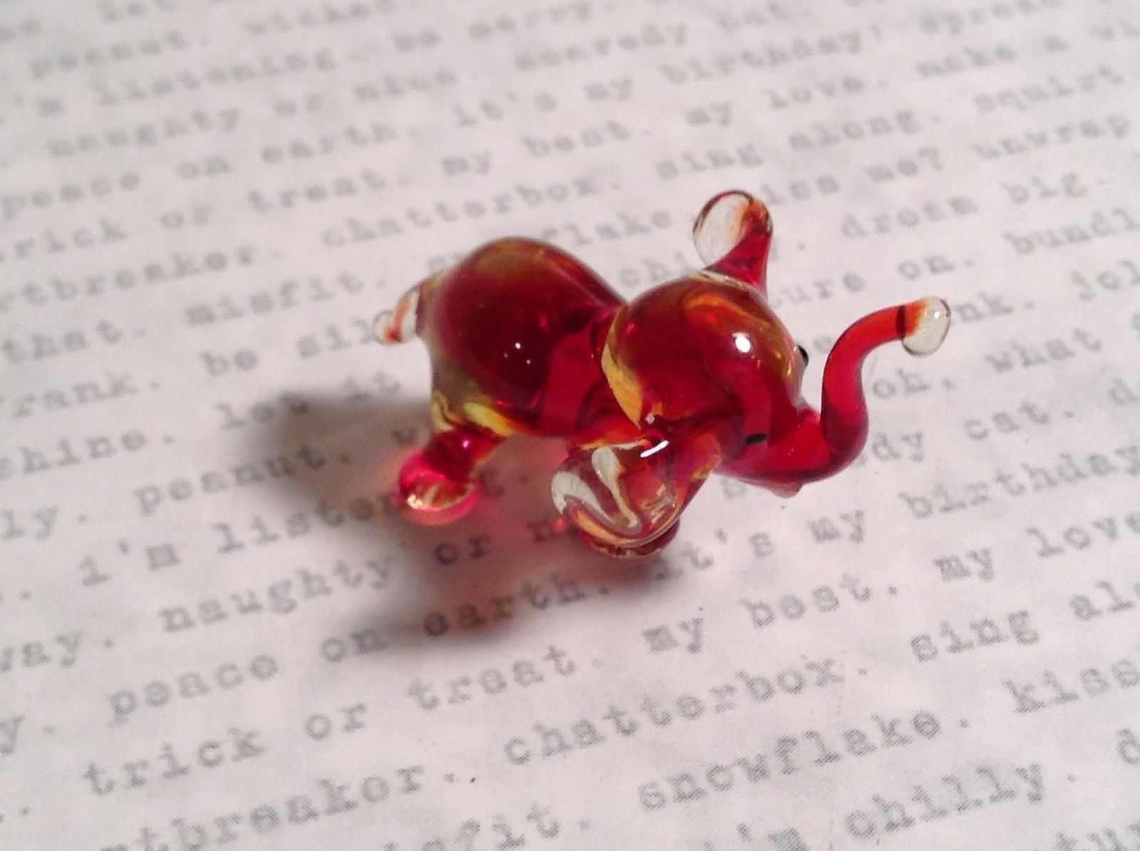 Micro miniature small hand blown glass figurine red and clear elephant USA  NIB