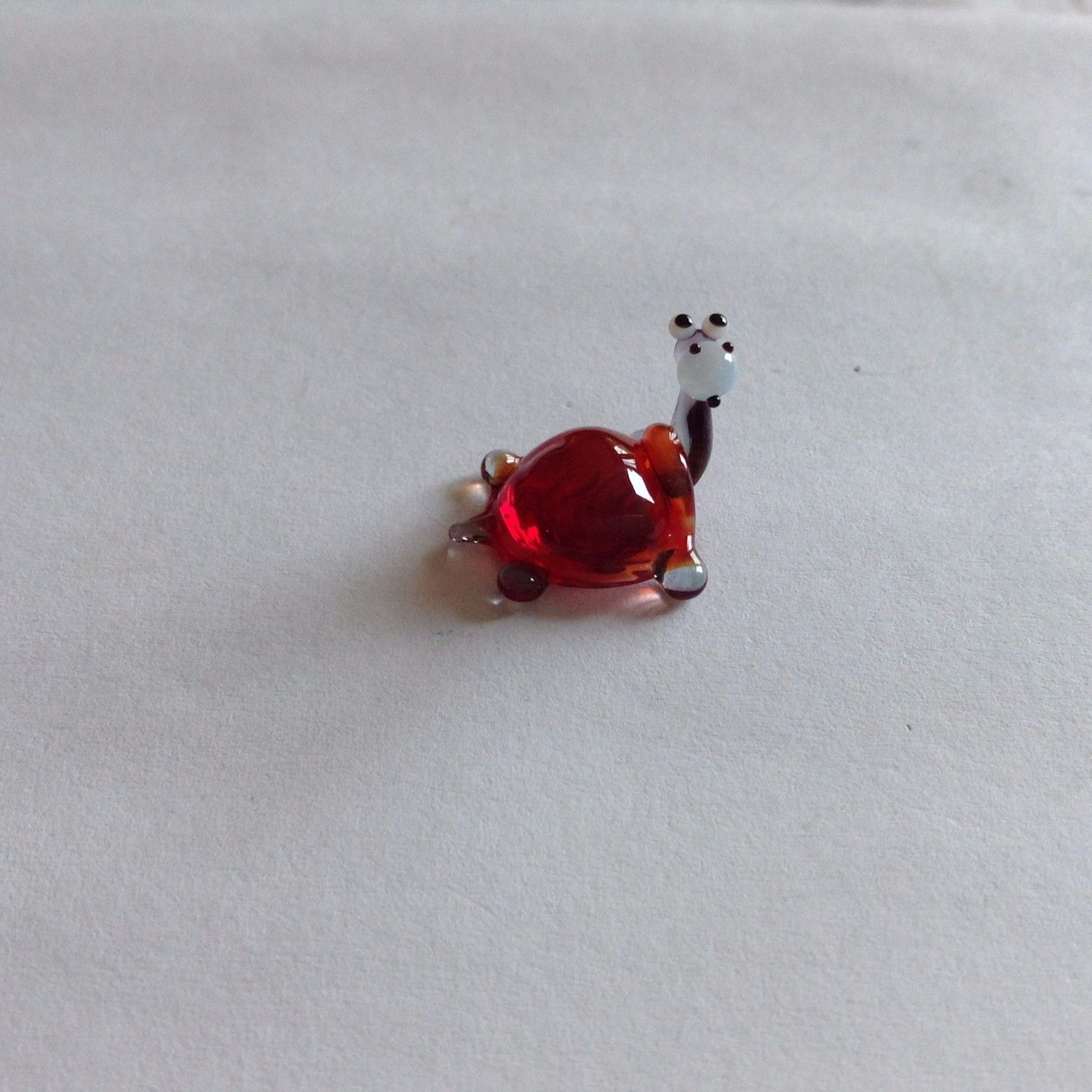 Micro miniature small hand blown glass figurine red backed turtle or hippo ? USA