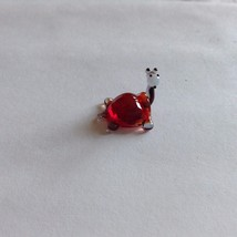 Micro miniature small hand blown glass figurine red backed turtle or hippo ? USA image 1