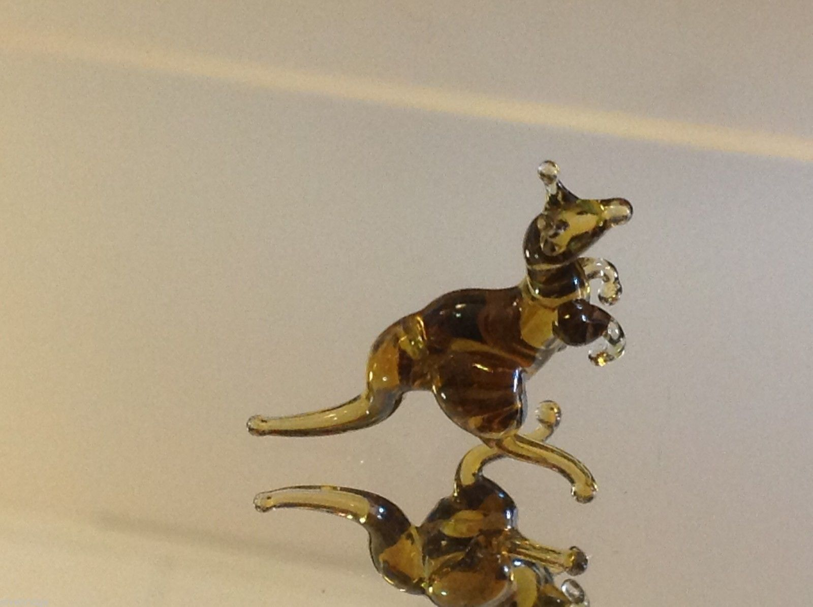Micro miniature small hand blown glass kangaroo USA  NIB