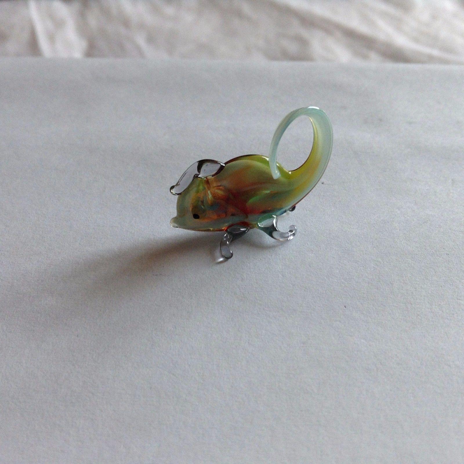 Micro miniature small hand blown glass figurine multi colored chameleon  USA