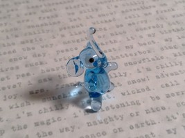 Micro miniature small hand blown glass light blue elephant  USA made