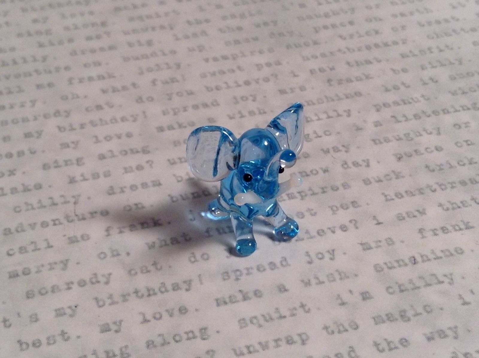 Micro miniature small hand blown glass light blue elephant standing USA  NIB