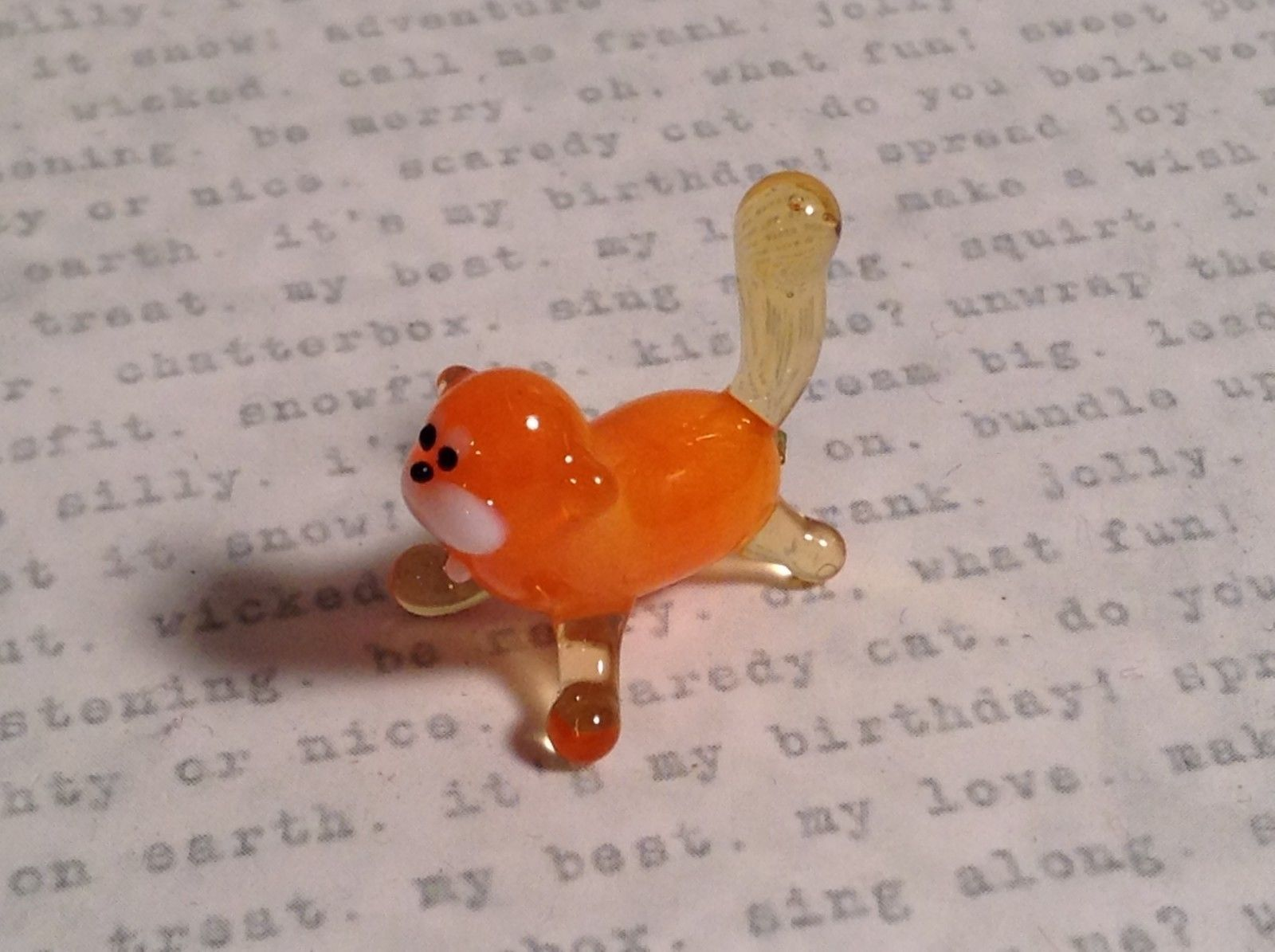 Micro miniature small hand blown glass orange cat USA made