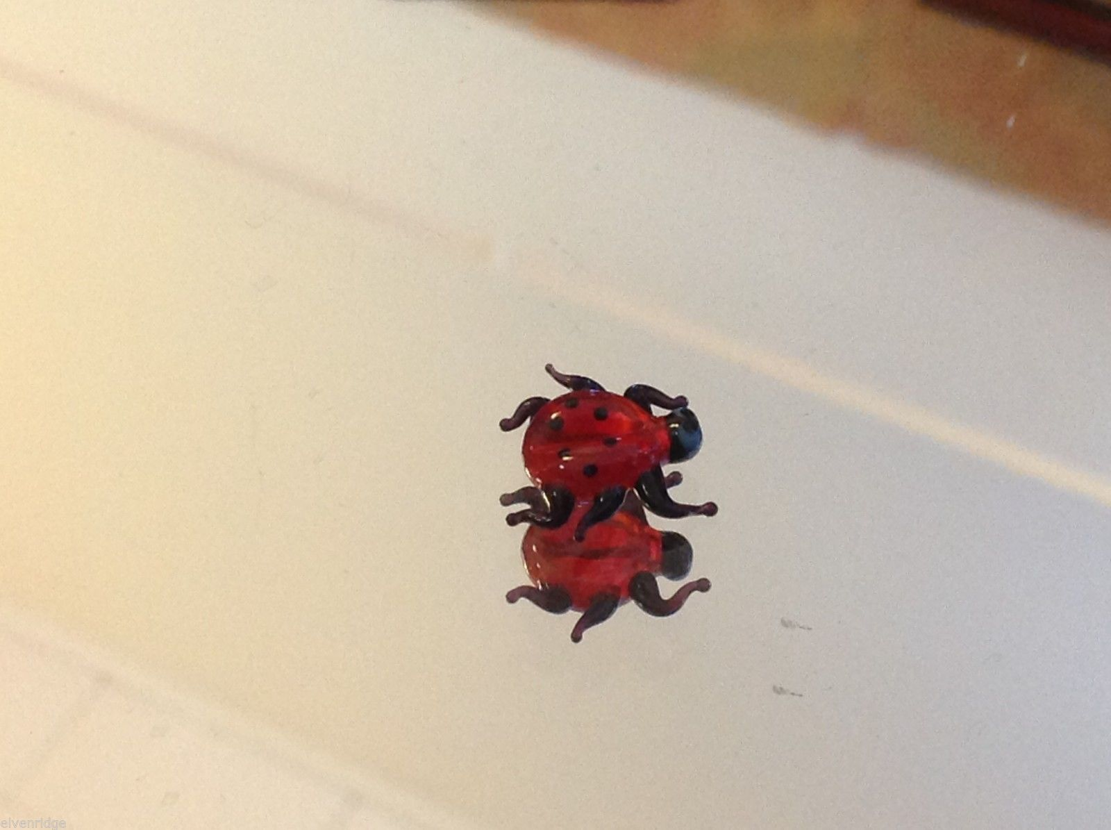 Micro miniature small hand blown glass petite ladybug USA made