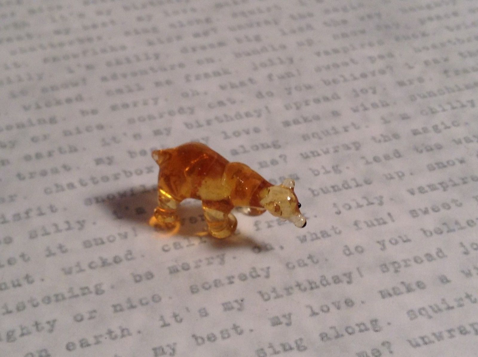 Micro miniature small hand blown glass one eye cyclops bear USA made