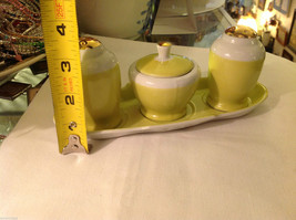 Lemon and Gold gilt delicate salt pepper sugar tea condiments set vintage image 4