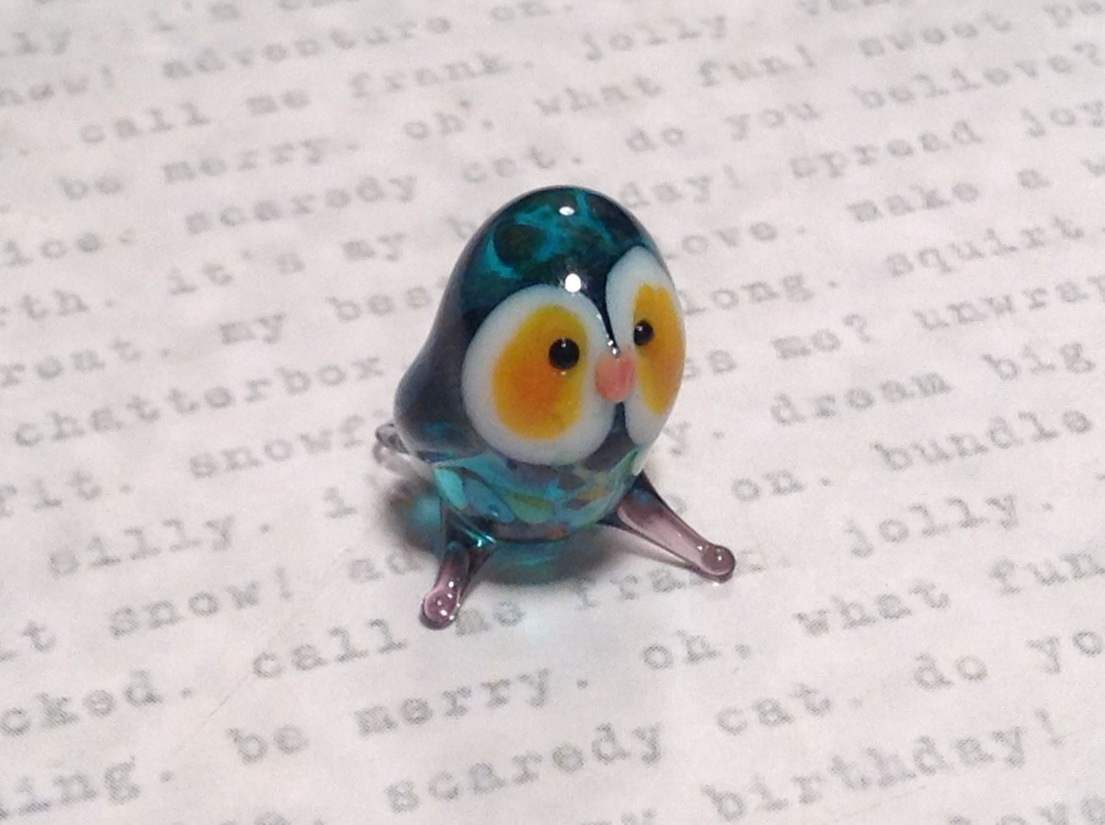 Micro miniature small hand blown glass sea blue owl w orange eyes USA  NIB