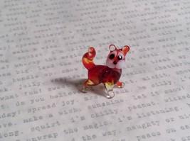 Micro miniature small hand blown glass red multicolor swirl cat USA  NIB